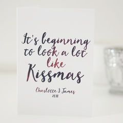 Kissmas,Christmas,Card,-,Card-,Beginning,to,Look,a,Lot,Like,Couples,Romantic,Paper Goods,card,christmas card, christmas, personalised christmas card, kissmas card, romantic christmas card, christmas card for couples
