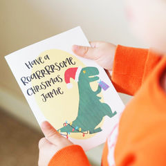 Personalised,Roarsome,Dinosaur,Christmas,Card,for,Kids,-,Children's,Paper Goods,card,christmas card, christmas, personalised christmas card, son christmas card, christmas card for son, little boy christmas card, dinosaur card, t rex, little girl card, daughter, roarsome christmas, roarsome, dinosaur christmas