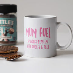 Mum,Fuel,Mug,-,Personalised,Gift,For,New,personalised mug, mug, gift for her, gift for mum, mothers day gift, birthday gift, mum fuel, mum fuel mug