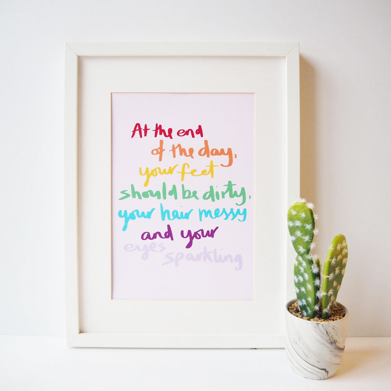 Rainbow Hand Lettered Typography Quote Print for Kids Room - product images  of