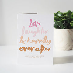 Love,,Laughter,&,Happily,Ever,After,Personalised,Wedding,Card,Paper_Goods,Cards,card,greetings_card,wedding card, hand lettered card, hand lettering, engagement card, personalised card, anniversary card, love, laughter, happily ever after