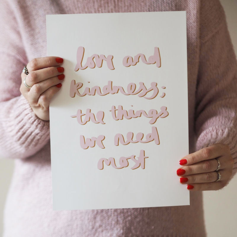 Love and Kindness Hand Lettered Typography Quote Print  - product images  of