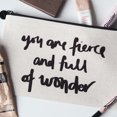 Fierce,and,Full,Of,Wonder,Linen,Make,Up,Pouch,make up pouch, make up bag, personalised pouch, linen pouch, linen make up bag, make up, fierce, full of wonder, bits and bobs