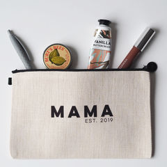 Personalised,Mama,Est.,Linen,Make,Up,Pouch,make up pouch, make up bag, personalised pouch, linen pouch, linen make up bag, make up, mama, mama eat, new mum gift