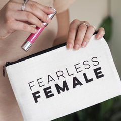 Fearless,Female,Linen,Make,Up,Pouch,make up pouch, make up bag, personalised pouch, linen pouch, linen make up bag, make up, fearless female, fearless female pouch