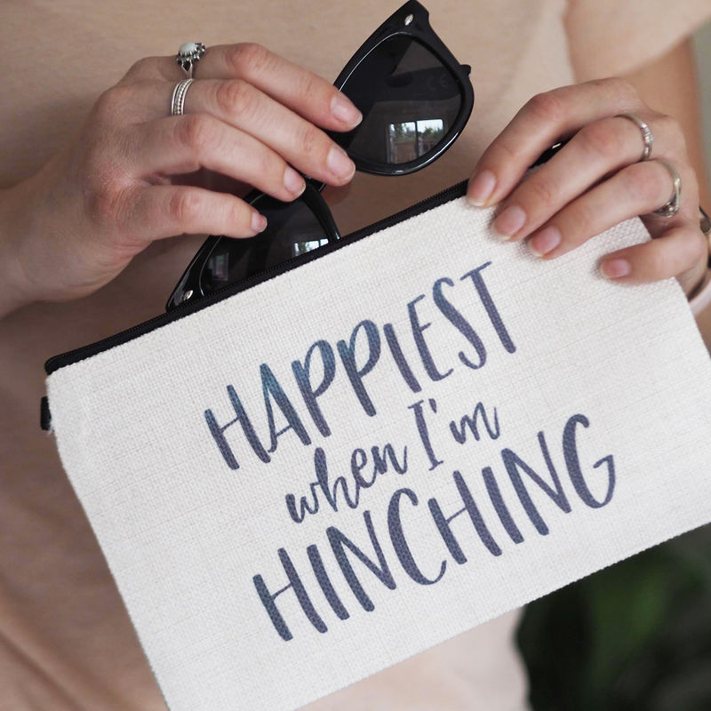 Happiest When I'm Hinching Linen Make Up Pouch - product images  of