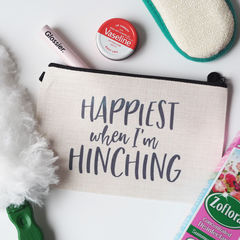 Happiest,When,I'm,Hinching,Linen,Make,Up,Pouch,make up pouch, make up bag, personalised pouch, linen pouch, linen make up bag, make up, mrs hinch, hinch army, happiest when hinching, hinching, hincher