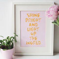 Shine,Bright,Typography,Quote,Print,shine bright print, typography print, quote print, motivational print, kids print, children's wall art, light up the world, print for kids