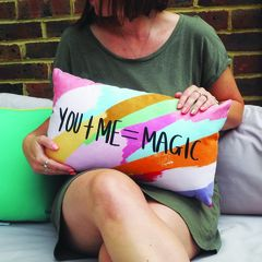 You,+,ME,=,Magic,Hand,Lettered,Cushion,Housewares,Pillow,cushion,magic, you and me, couples cushion, gift for couples, anniversary gift, hand lettered, valentines day gift, hand lettered cushion, colourful cushion, quote cushion, magic cushion
