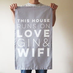 Love,,Gin,&,WIFI,Decorative,Tea,Towel,love gin and wifi, love, gin, wifi, tea towel, cotton, house warming gift, new home gift, gin gift, house warming tea towel
