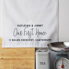 Personalised,Our,First,Home,Tea,Towel,our first home, new home gift, house warming gift, cotton tea towel, personalised tea towel, tea towel, personalised house warming gift, decorative tea towel
