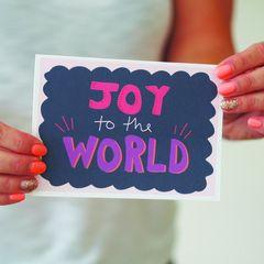 Joy,To,The,World,Hand,Lettered,Christmas,Card,Paper Goods,card,christmas card, christmas, hand lettered, hand lettered Christmas card, joy to the world, colourful card
