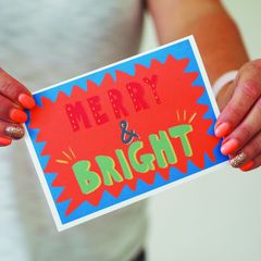 Merry,&,Bright,Hand,Lettered,Christmas,Card,Paper Goods,card,christmas card, christmas, hand lettered, hand lettered Christmas card, merry & bright, merry and bright,, colourful card