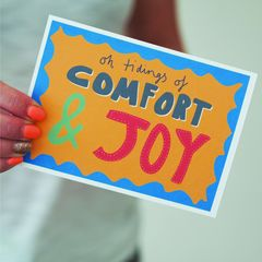 Comfort,&,Joy,Hand,Lettered,Christmas,Card,Paper Goods,card,christmas card, christmas, hand lettered, hand lettered Christmas card, comfort and joy, comfort & joy, merry and bright, colourful card