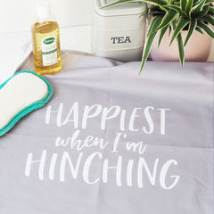 Happiest,When,I'm,Hinching,Decorative,Tea,Towel,happiest when I'm hinching, hinching tea towel, hinching, mrs hinch, hinch army, tea towel, decorative tea towel, grey tea towel