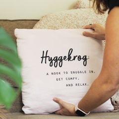 Hyggekrog,Cushion,-,Hygge,Typography,Quote,Housewares,Pillow,cushion,home is where the hygge is, hyggekrog cushion, hygge cushion, hygge, hygge quote cushion, quote cushion, typography quote cushion