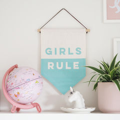 Girls,Rule,Pennant,Flag,girls rule, wall hanging, pennant, flag, sign, girls bedroom, wall art, girls flag, girls, rule,