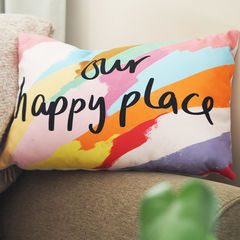 Our,Happy,Place,Hand,Lettered,Cushion,Housewares,Pillow,cushion, happy place cushion, our happy place, house warming gift, couples cushion, gift for couples, anniversary gift, hand lettered, valentines day gift, hand lettered cushion, colourful cushion, quote cushion,