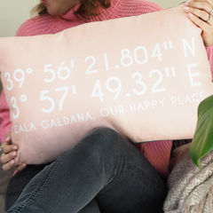 Personalised,Coordinates,Location,Cushion,coordinates location cushion, personalised location cushion, personalised coordinates cushion, coordinates location, location cushion, holiday memories cushion, gift for couples, house warming gift