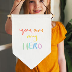 You,Are,My,Hero,Linen,Flag,Wall,Hanging,you are my hero, my hero, hand lettering, linen flag, flag, linen wall hanging,  wall hanging, wall flag, thank you, thank you gift, key workers, key worker, nhs