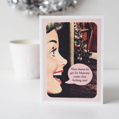 Funny,,Rude,,Gin,For,Mummy,Retro,Christmas,Card,Paper Goods,card,christmas card, christmas, funny, rude, sweaty, retro, retro christmas, retro card, gin, gin for mummy, christmas card for her, christmas card for mum, christmas card for friend