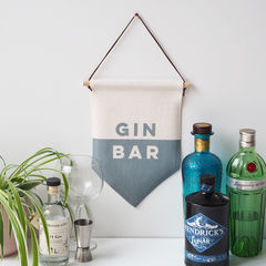 Gin,Bar,Linen,Flag,Wall,Hanging,gin bar, gin bar sign, gin bar wall hanging, gin bar flag, gin bar pennant, wall hanging,