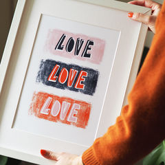 Love,Typography,Art,Print,love, love print, hand lettered, quote print, prints of positivity, typography print, hand letter, hand lettering, kids print, gallery wall, art print