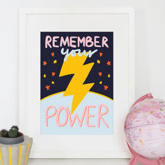 Remember,Your,Power,Typography,Art,Print,prints of positivity, remember your power, lightning, power, typography print, illustration, power print, art print, kids print, typography