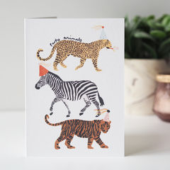 Party,Animals,Birthday,Card,Paper_Goods,Cards,card,greetings_card,birthday card, party animals, animals, birthday, kids birthday, party, jungle, leopard, cheetah, zebra, tiger