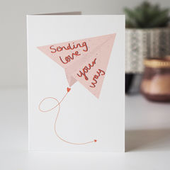 Sending,Love,Your,Way,Card,Paper_Goods,Cards,card,greetings_card, miss you, miss you card, paper plane, sending love, sending love your way, love, friend,