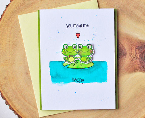 Hoppy,Frogs,frog, love frogs, cute card, handmade card, animal card, watercolored card