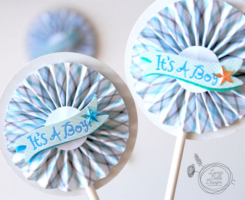 Blue,and,Grey,Baby,Boy,Rosette,Toppers,baby boy topper, handmade cupcake toppers, baby boy cupcake topper, blue and grey cupcake topper, cute treat toppers,