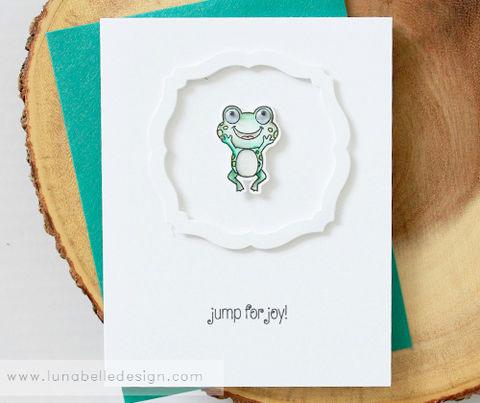 Clean,and,Simple,Frog,Card,frog card, jumping frog card, handmade frog card, handmade baby card, baby shower, good news