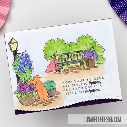 Watercolor,Bench,Scene,bunny card, sympathy card, handmade card, encouragement card, watercolor card, art impressions,