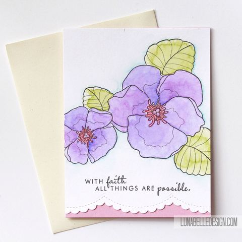 Watercolor,Violets,Faith,Card,violets, violet card, watercolor violets, handmade card, inspirational card, faith card, flower card, hand painted card, purple and pink flower