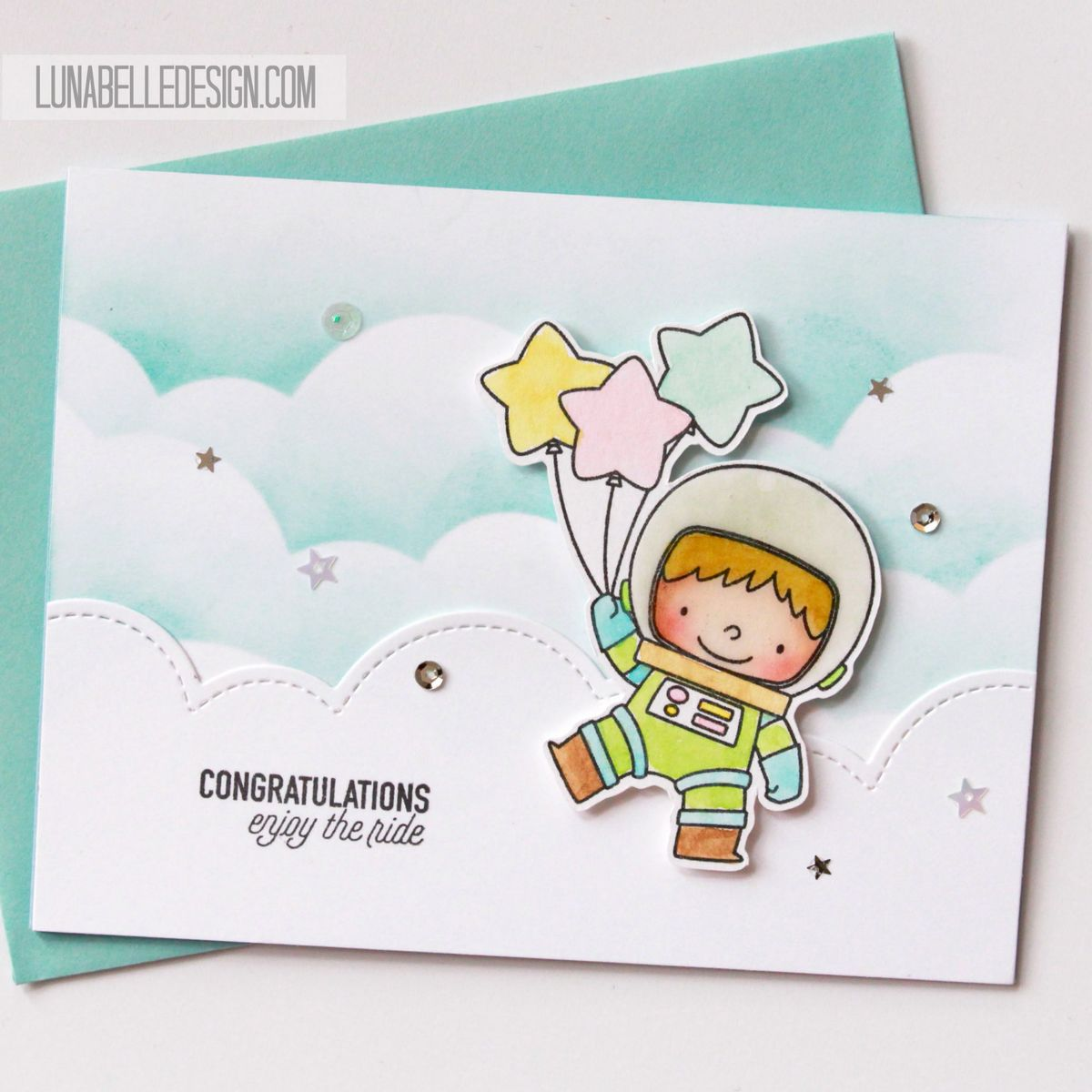 Spaceman With Balloons Die Cut Card Luna Belle Design