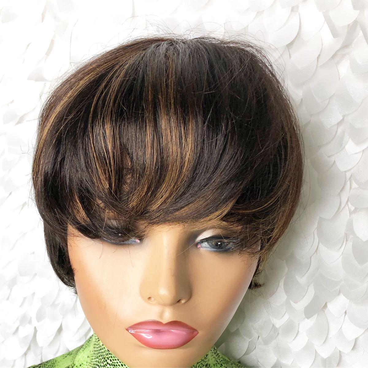 Boy Cut Medium Brown Honey Blonde Highlights Madam B