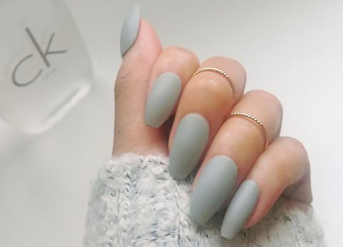 Matte Grey Coffin Nails Fall