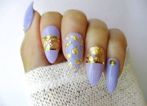 Lilac,Treasures,fake nails, gold leaf nails, nails design, lavendar nails, fake nails uk, acrylic nails, nail art uk