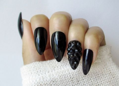 BLACK,ONYX,Black Stiletto Nails, Stiletto Nails Uk, Nail Art Designs, Luxury Nails