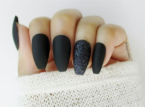 Black,Sugar,Press On nails, fake nails, black matte nails, black coffin nails