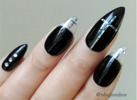 HOLO,GOTH,STILETTO,stiletto nails uk, press on nails uk, press on nails, fake nails, false nails, acrylic nails, matte nails, black matte nails