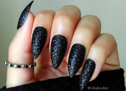 BAD,KITTY,Black glitter nails, black glitter stiletto nails, black press on nails, press on nails