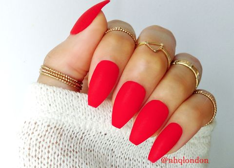 RED,VELVET,red matte nails, red matte coffin nails, matte nails, press on nails uk
