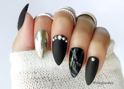 GALVANIZE,black stiletto nails, black matte nails, black press on nails, press on nails
