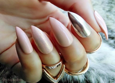 FEMME,X,CHROME,nude chrome stiletto nails, nude nails, press on nails, press on nails uk