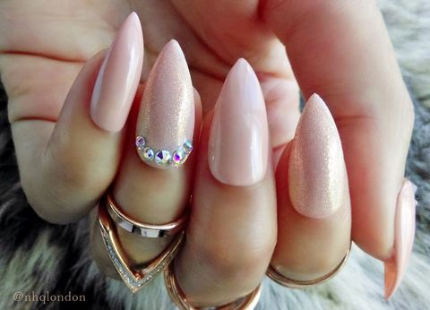 FEMME,nude stiletto nails, nude swarovski nails, press on nails, press on nails uk