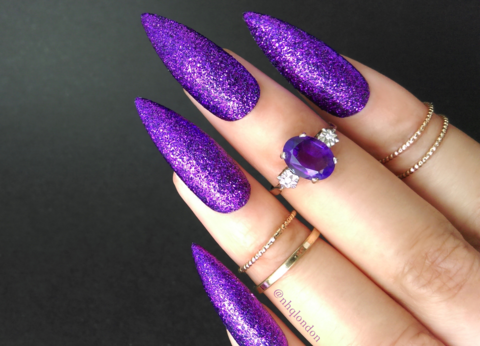 ALCHEMY,purple glitter nails, purple glitter stiletto nails, purple press on nails, press on nails