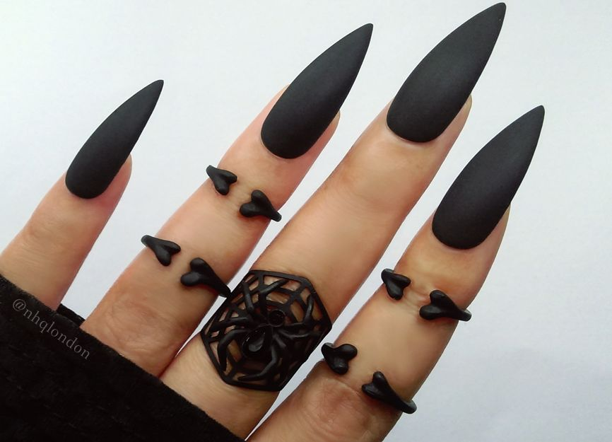 Fancy Black Nails Long Sketch - Nail Art Design Ideas ...