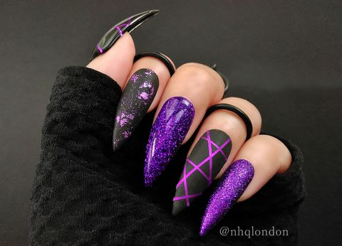 SPELLBOUND,long stiletto nails, purple stiletto nails, matte nail art